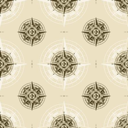 Seamless vintage nautical wind rose pattern 스톡 콘텐츠 - 123824519