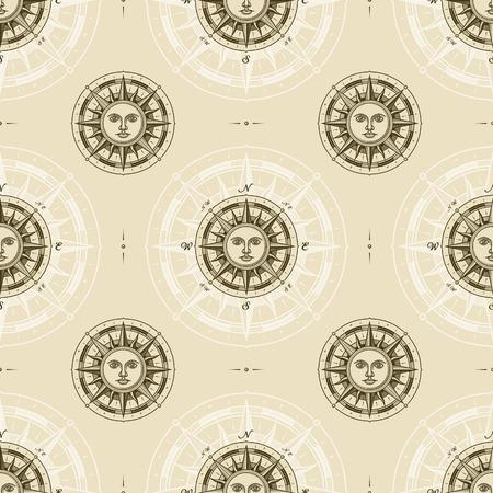 Nahtloses Vintage-Sonnenkompass-Rosenmuster Vektorgrafik