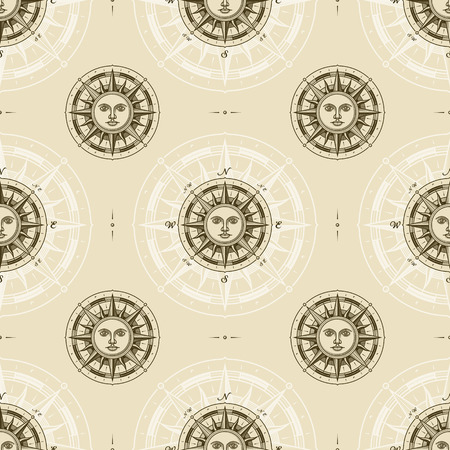 Patrón de rosa de los vientos de sol vintage inconsútil Ilustración de vector