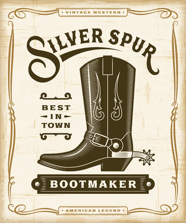 Vintage Western Bootmaker Label Graphics