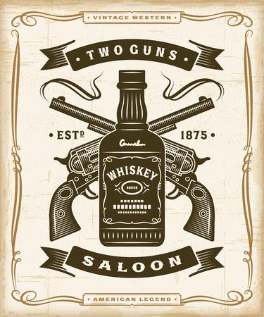 Grafika etykiety Vintage Western Saloon