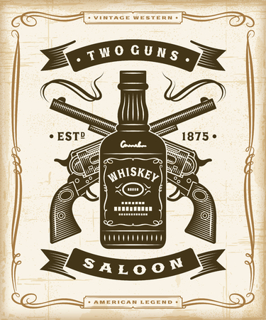 Vintage Western Saloon Label Graphics Çizim