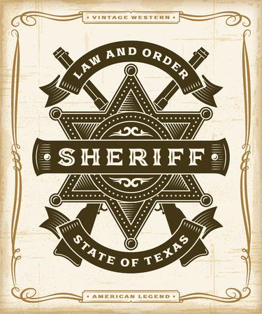 Vintage Western Sheriff Label Graphics Illustration