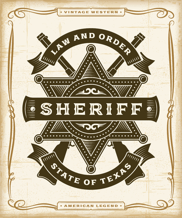 Vintage Western Sheriff Label Graphics Ilustrace