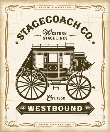 Gráficos de etiquetas Vintage Western Stagecoach