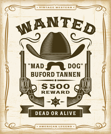 Vintage Western Wanted Label Graphics Vetores
