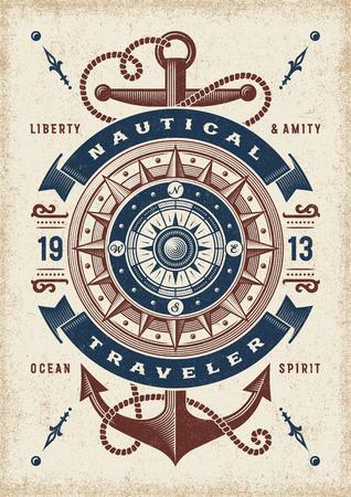 Typographie de voyageur nautique vintage