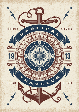 Vintage nautische reiziger typografie