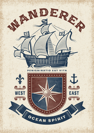 Vintage Nautical Wanderer Typography