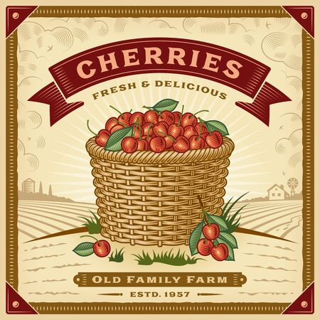 Etichetta di raccolta delle ciliegie retrò con paesaggio