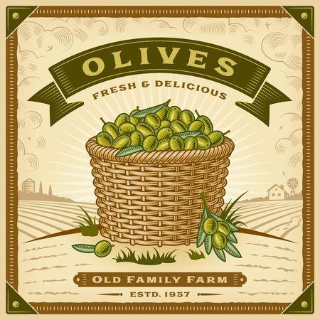 Retro olive harvest label with landscape