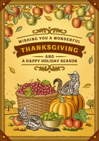 Rocznika kartka z życzeniami na Święto Dziękczynienia