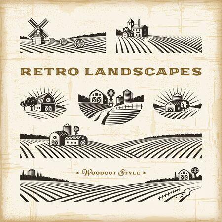 Retro landscapes set