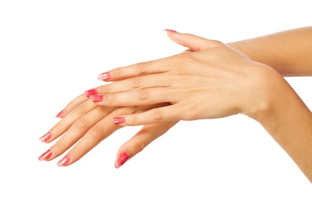 women's hands: Care for the womens hands Stock Photo