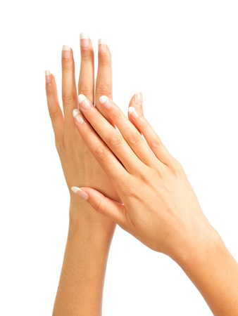 Care for the womens hands Stock Photo