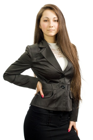 The strong business girl is isolated on a white background photo
