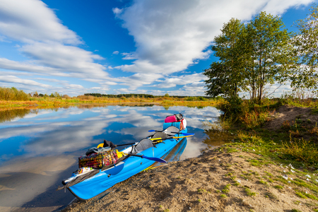 Water tourism on the river by canoe in the summer, relax by the river