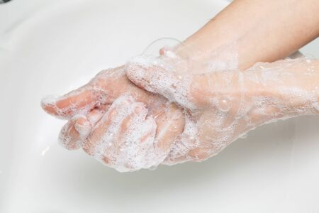 Wash hands thoroughly with soap, cleanliness and hygiene