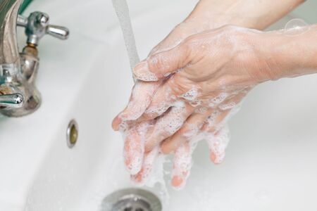 Hands in soap, cleanliness and hygiene 写真素材