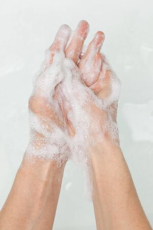 Hands in soap, cleanliness and hygiene Stock Photo