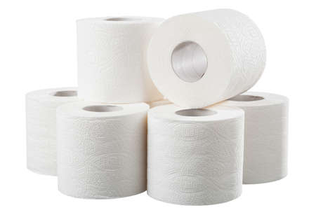 Rolls of white toilet paper on white background
