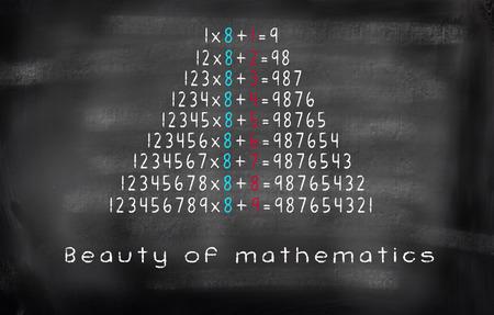 multiplicacion: ecuaci�n de multiplicaci�n de belleza de las matem�ticas en la pizarra Foto de archivo