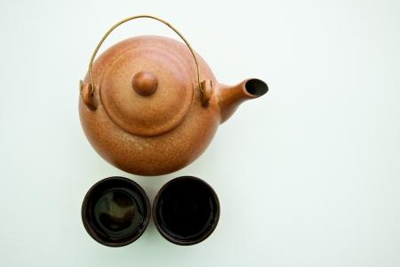 chinese tea pot: Olla de t� chino en el fondo blanco Foto de archivo