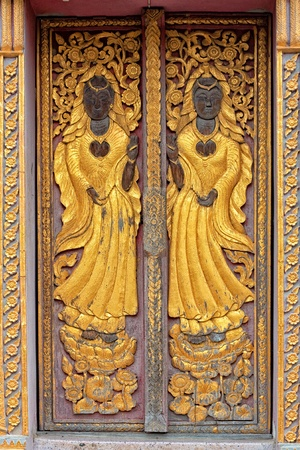 antique wooden carved door photo