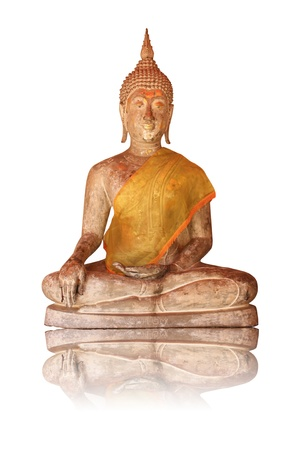 Ancient statue of Buddha on a white background photo