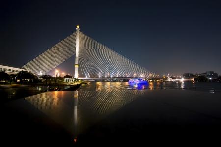 rama: Rama VIII Bridge and Ship in river