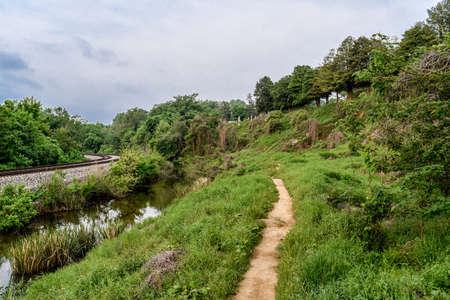 Multi use footpath near James River in Richmond, Virginia.