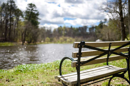 Bench overlooking a pond during early spring with bright sky in background. Stock Photo