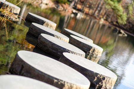 Stepping stones across the water at a local zen garden.