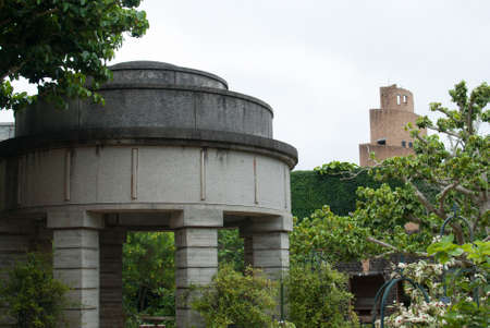 Historic buildings at tourist location in Okinawa