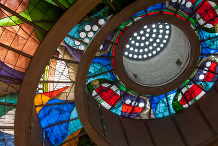 Stained glass ceiling in Okinawa.