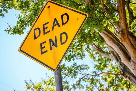 Dead end road sign during a bright sunny day with green leaves behind it.