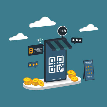 Online shopping 3D isometric Payment cryptography Vector illustration Vetores
