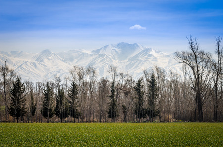 andes: the white ridge of the Andes Stock Photo
