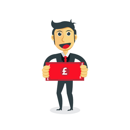 Manager cartoon character. Businessman with Poundsterling bill in his hand.