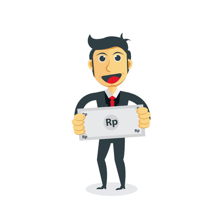 Manager cartoon character. Businessman with Rupiah bill in his hand. Illustration