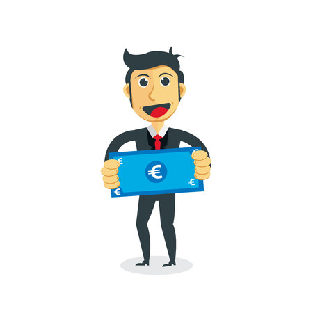 Manager cartoon character. Businessman with euro bill in his hand. Illustration