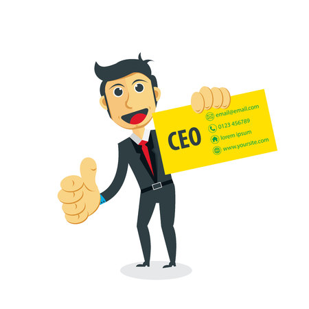 Blank Business Card Template In Hand Businessman Character With