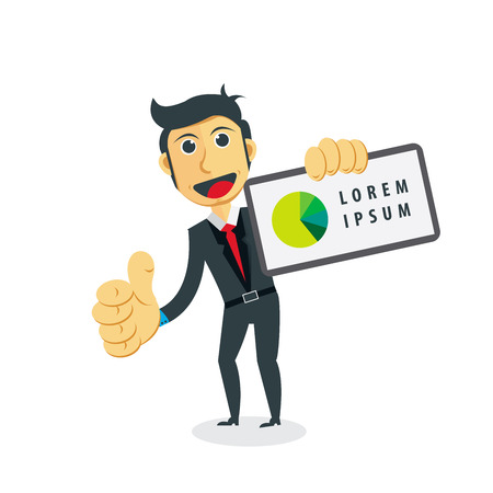 communication cartoon: Business Vector Illustration. Businessman with statistic in a graphic