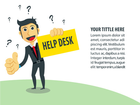 questions: Business Vector Illustration. Need help for grow up business. Help Desk. Illustration