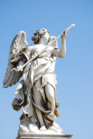 bernini: Bernini s marble statue of angel with cross from the Sant Angelo Bridge in Rome
