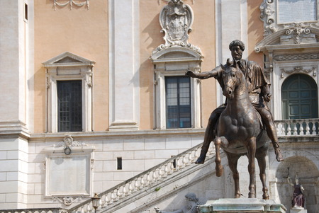 Bronze Horse Statue of the Roman Emperor Marcus Aurelius on the Capitol Hill photo