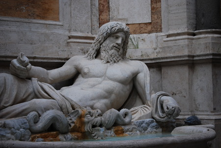 king neptune: Statue of Neptune at fountain, Rome, Italy