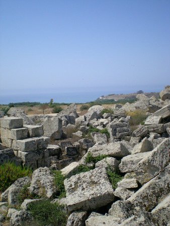 antik: The antique ruins of Sicily in Selinunt Stock Photo