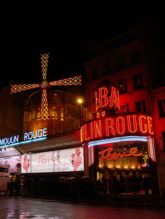 moulin: The Moulin Rouge at night Editorial