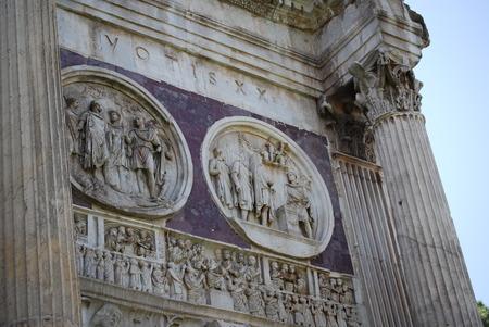 constantine: Arch of Constantine in Rome next Coliseum Stock Photo
